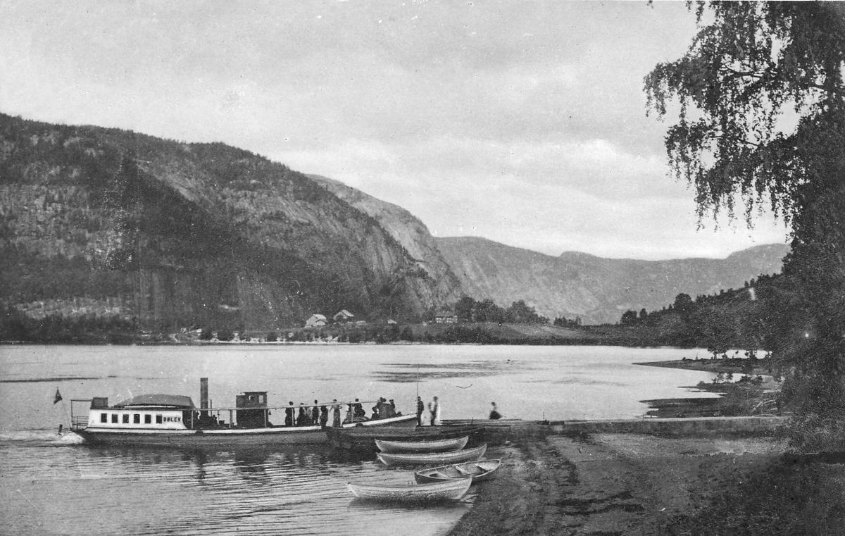 """Dampskipet """"Dølen"""" ved Bygland brygge, andre båter ved vannet"""