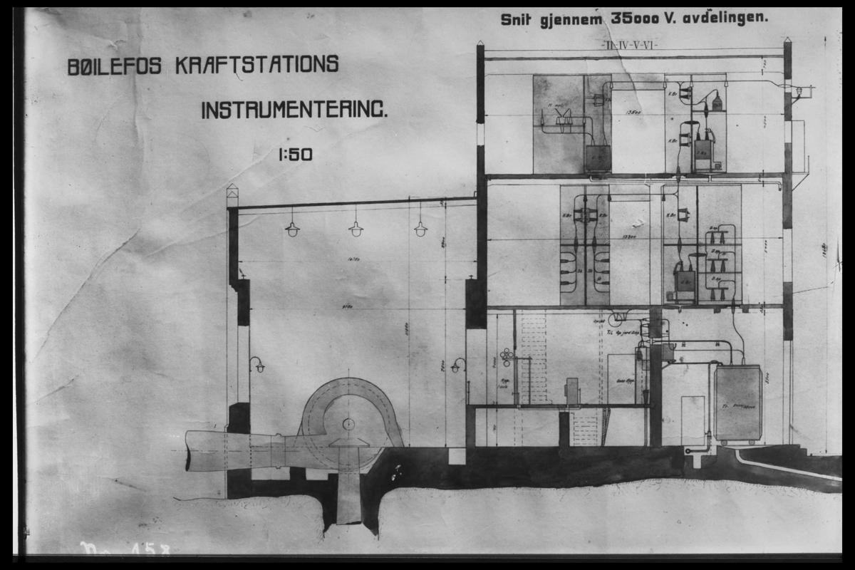 Arendal Fossekompani i begynnelsen av 1900-tallet CD merket 0010, Bilde: 3 Sted: Bøylefoss kraftstasjon i 1911 Beskrivelse: Skisse med tversnitt gjennom kraftstasjonsbygget