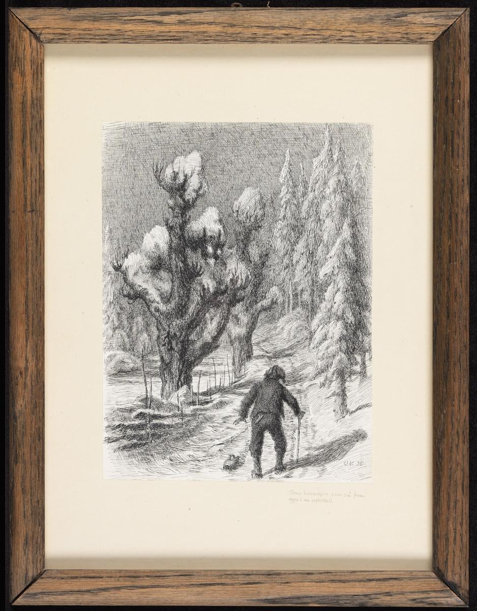Vei innover, grantrær tilh., store, knudrete trær tilv., i forgr. kroket mann m. ryggen til
