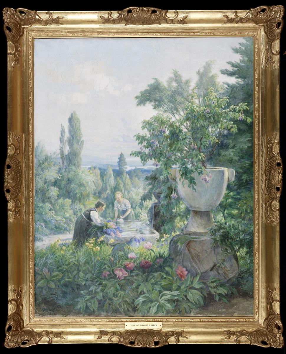 Hagen her sett mot fjorden, i forgr. peoner, urne m. fucksia, fontenen m. T.V. og G.B