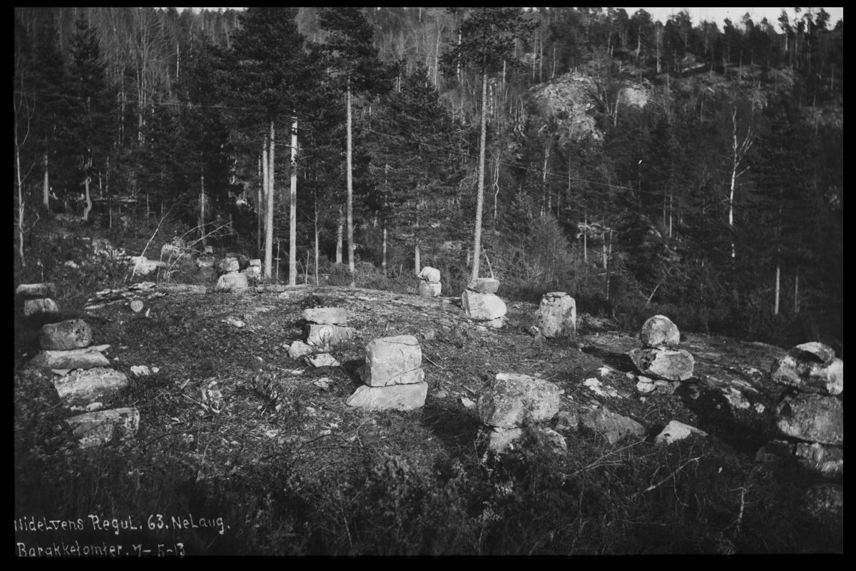 Arendal Fossekompani i begynnelsen av 1900-tallet CD merket 0474, Bilde: 70 Sted: Nelaug dam Beskrivelse: Brakketomt