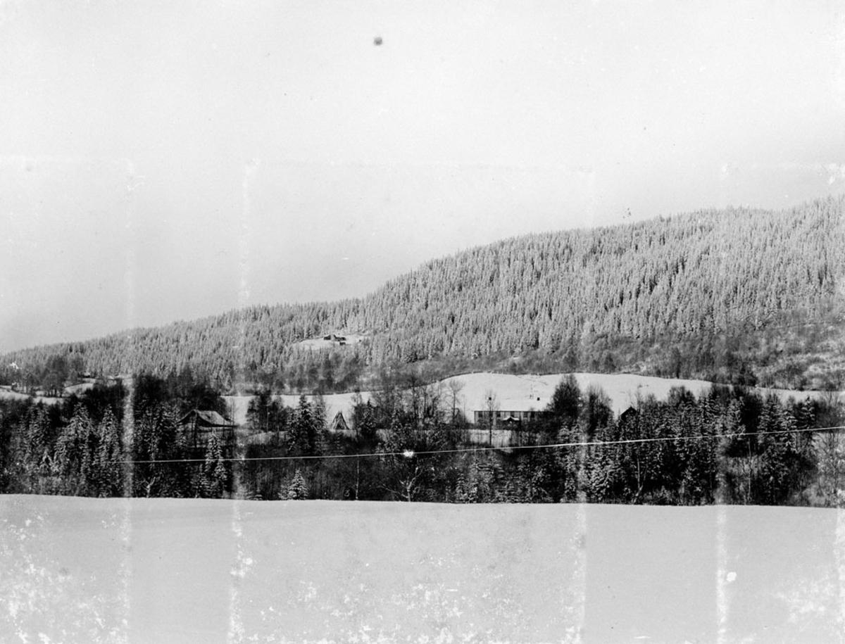 Vinterbilde av et bolighus m/trær foran, skogkledd ås i bakgr.