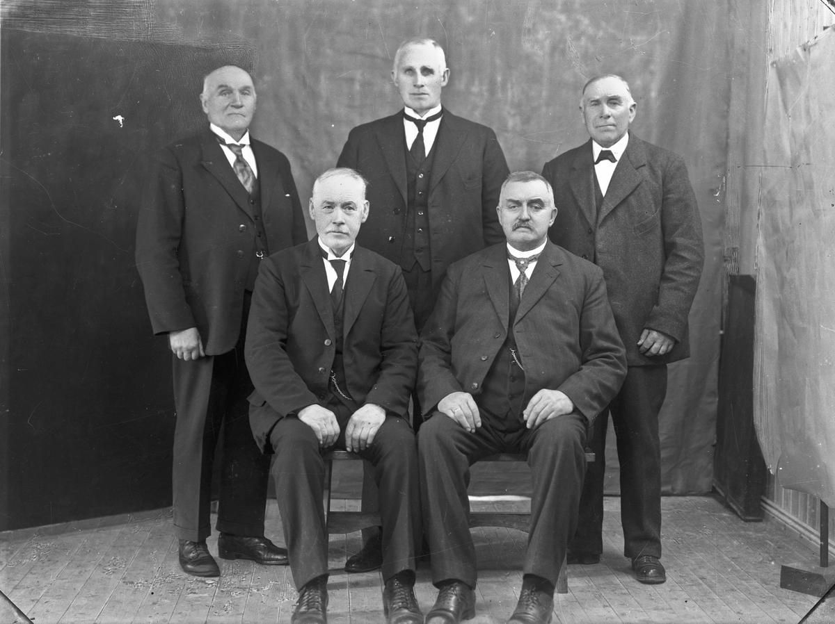 Styret i Eidsiva brannkasse eller Eidsvoll Sparebank. Anton Haga sitter foran til høyre. Bilde fra ca. 1920.