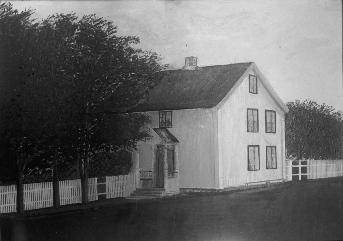 Avfotografert maleri av hus.
