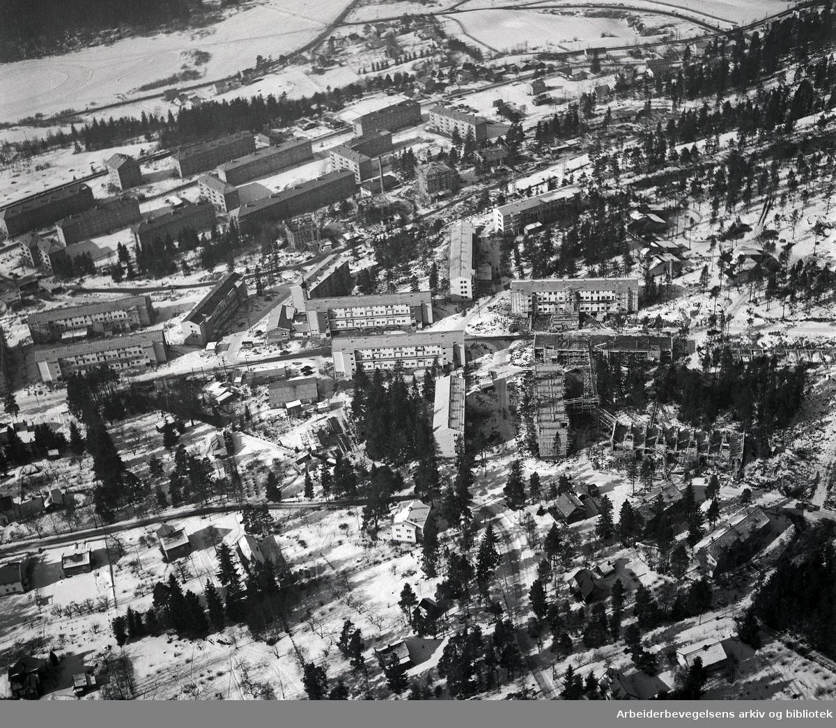 Flyfoto over Oppsal,.mars 1955