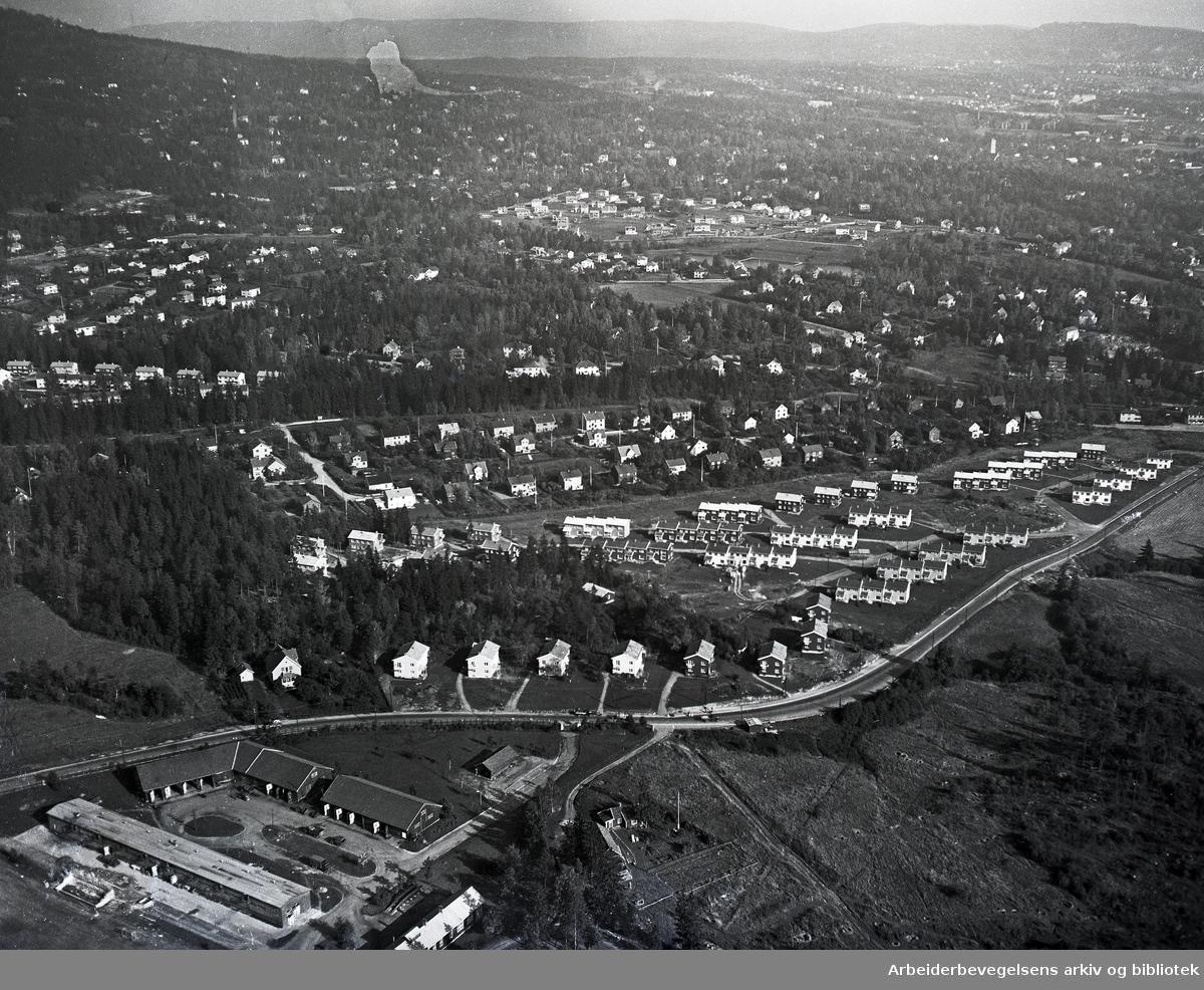 Flyfoto over Husebygrenda,.mars 1955