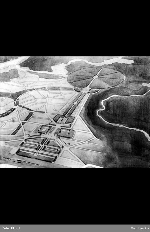 Tegning av byplan, nyklassisisme