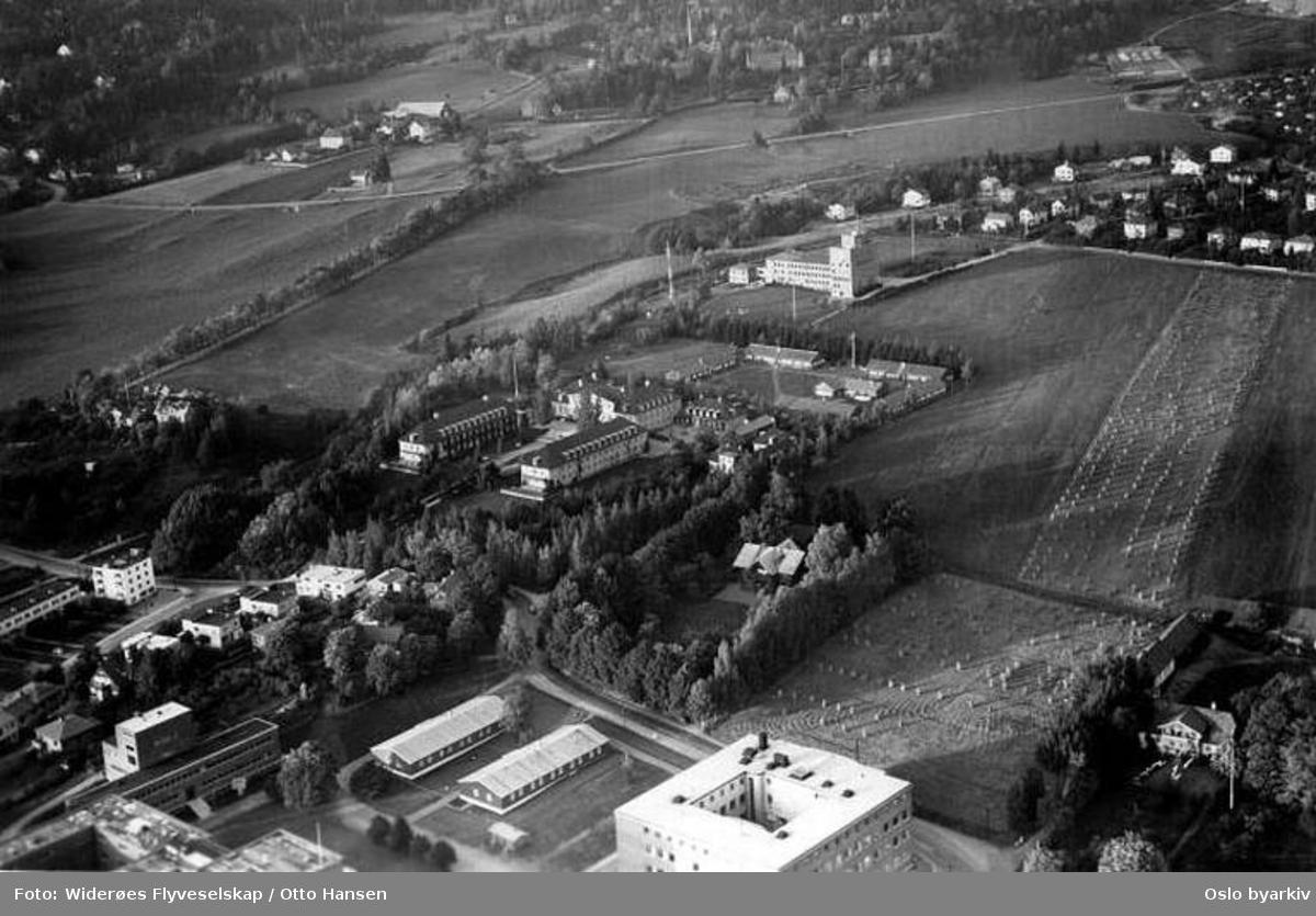 Universitet, Øvre Blindern gård, Blindernveien, Apalveien, Gaustad sykehus og gård (Flyfoto)