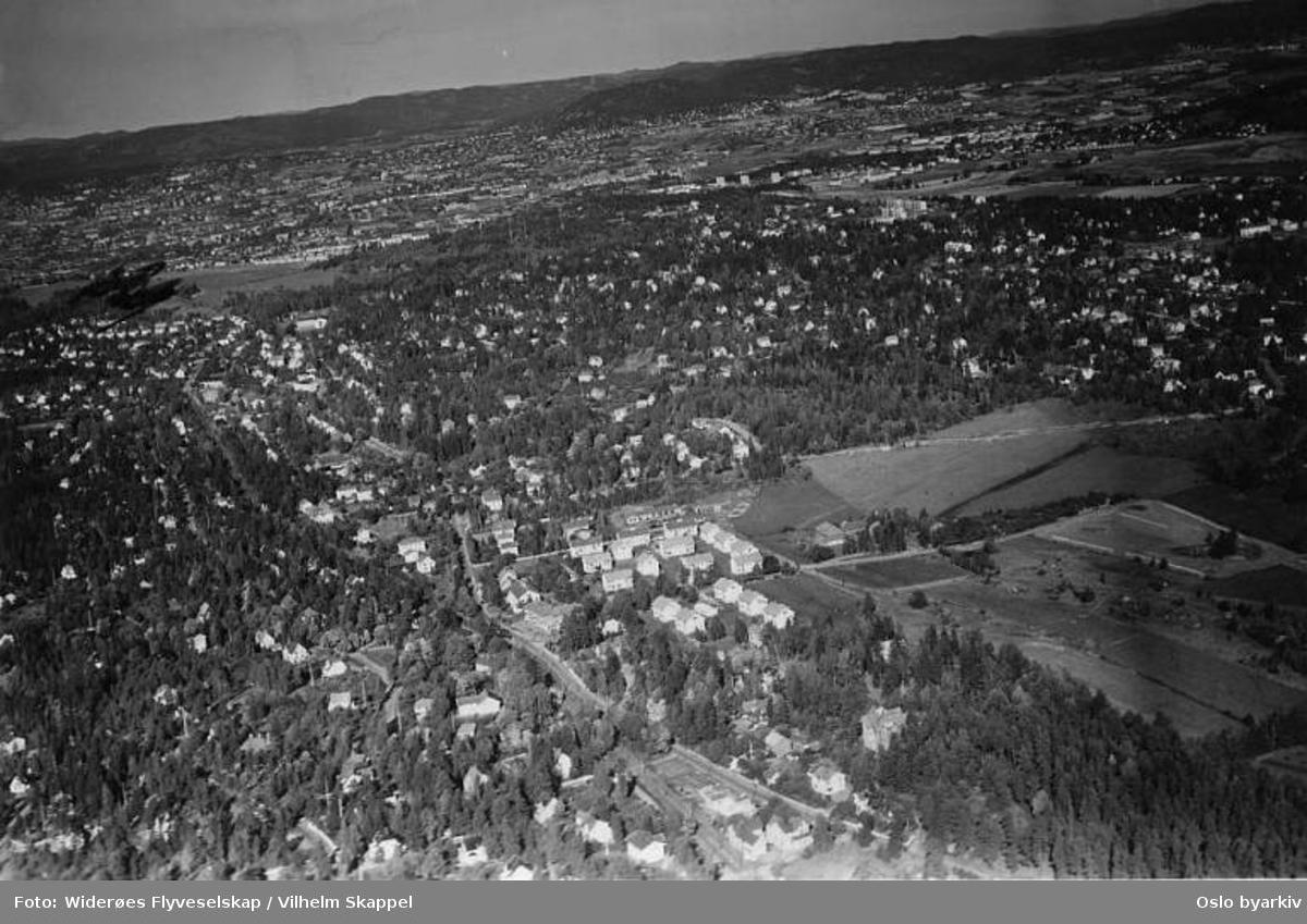 Kastellet, Ekebergveien, Nordstrand, Nordseter (Flyfoto)
