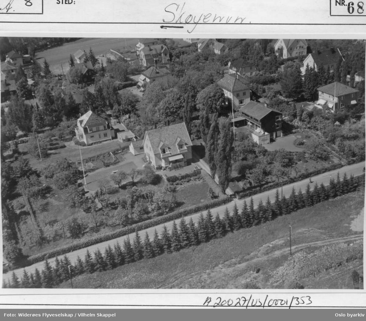 Skøyenveien 7, 9 og 11. Guldbergs vei. (Flyfoto)