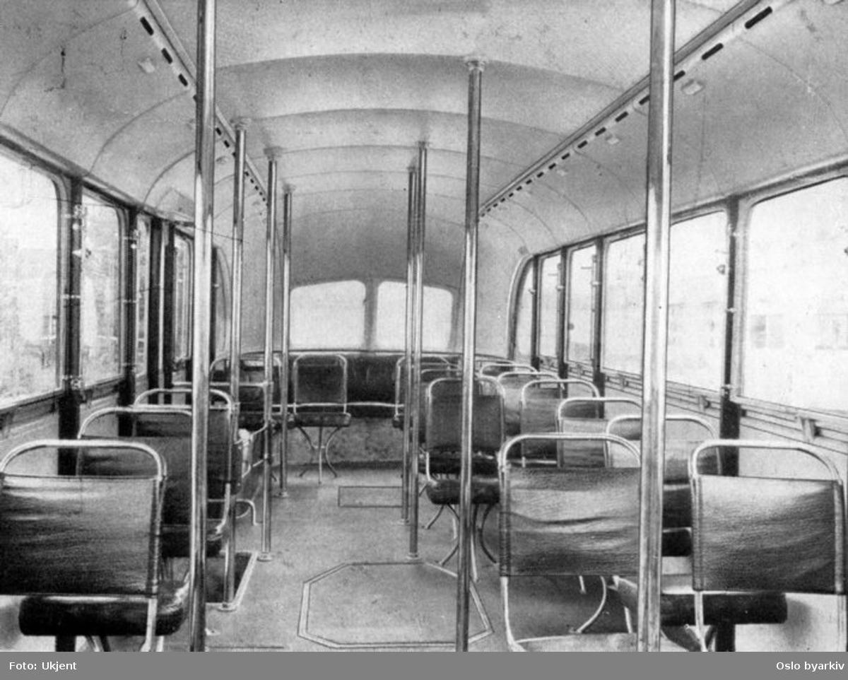 """Turbinbussen ble første gang presentert i 1935. Her vises interiøret slik bussen framstod i 1935. Bildet er fra et hefte merket """"Eksperimentell buss"""" 1935."""