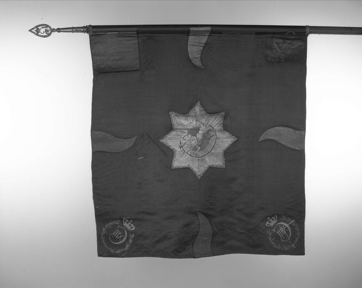 Oplandske gevorbne regiment. F.VI. Mørkeblå silkefane. Enkel duk. Midt på en stjerneglorie forgylt med Den norske løve. Dannebrog i øverste hjørne ved stangen og 4 tidligere røde tunger overmalt med blått. Likeså rt kronet initial nederst ved stangen.(CVI). I hjørnene lengst fra stangen, er C XIII sydd ovenpå de tidligere initialer. Snor i rødt og gull rundt duken. All dekor overmalt. Stangen brunbeiset og lakrty. Doppsko og spyd av messing. C VII i spyddet er fjernet. I stedet er satt in en plate med C XIII gravert. 287 cm med spyd. Spydet med holk 30 cm. 112 x 113,5 cm.