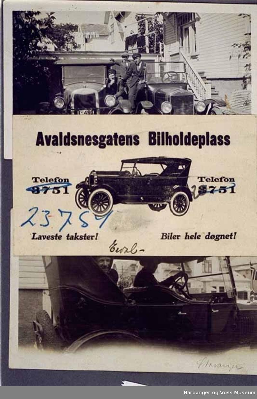 Billett, bil, drosje, visittkort. Visittkort for Avaldsnesgatens Bilholdeplass