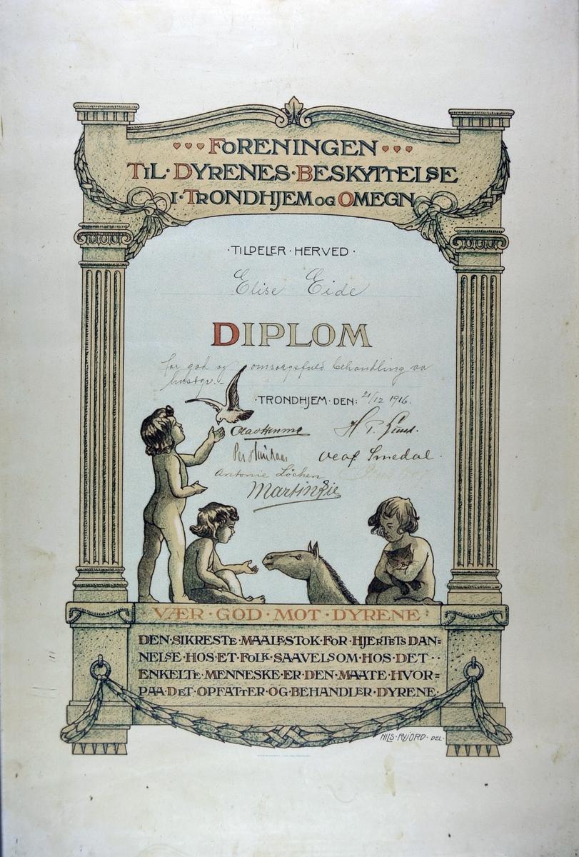 Diplom fra Foreningen til dyrenes beskyttelse i Trondhjem og omegn tegnet av Nils Ryjord