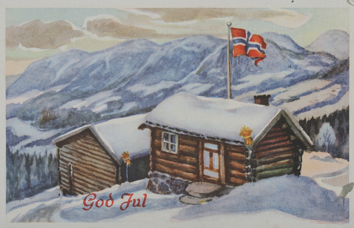 Julekort, Lillo Stenberg. 1085. Julenek, norsk flagg.
