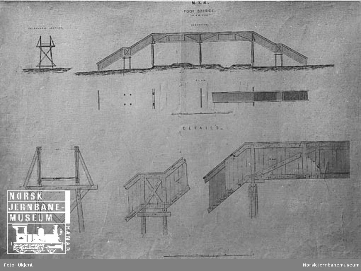 Tegning av fotgjengerovergang for Hovedbanen (ved Grønlien?)