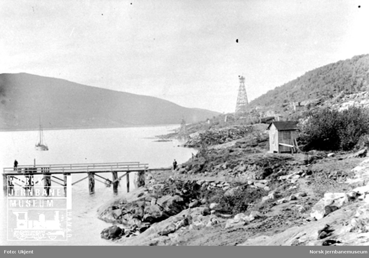 Fra området ved malmkaien før anleggsarbeidet begynte der sommeren 1899