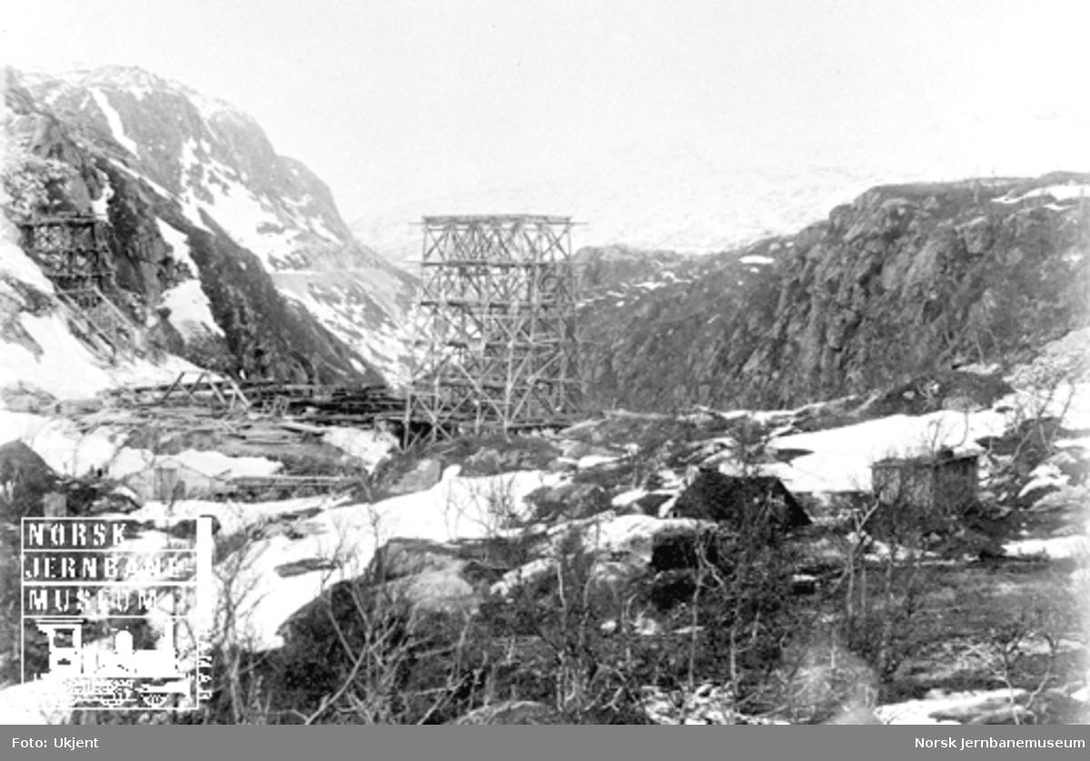Norddalsbrua : stillas for midtre spenn er reist