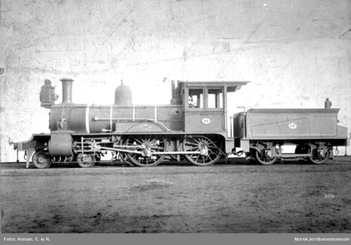 Rørosbanens damplokomotiv type XIII nr. 30 ved levering fra Dübs