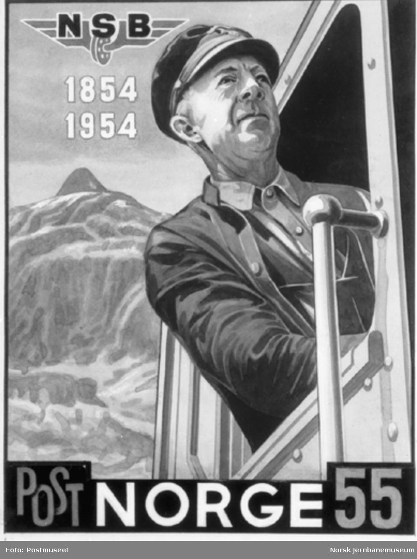 Originaltegningen til 55 øres-frimerket fra 1954 med lokomotivfører Kristian Alfred Andersen