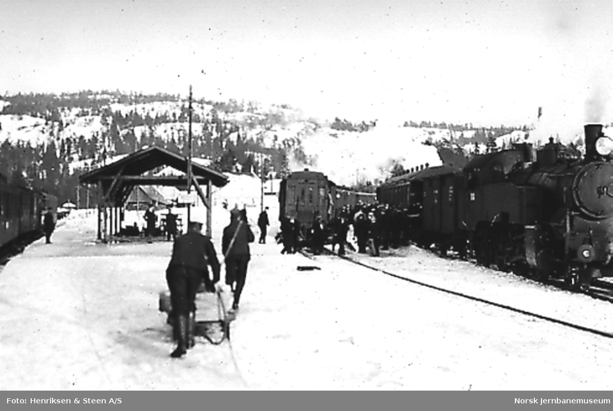 Pressebefaring på Vestfoldbanen : Damplokomotiv type 32 med persontog - og smalsportog til venstre
