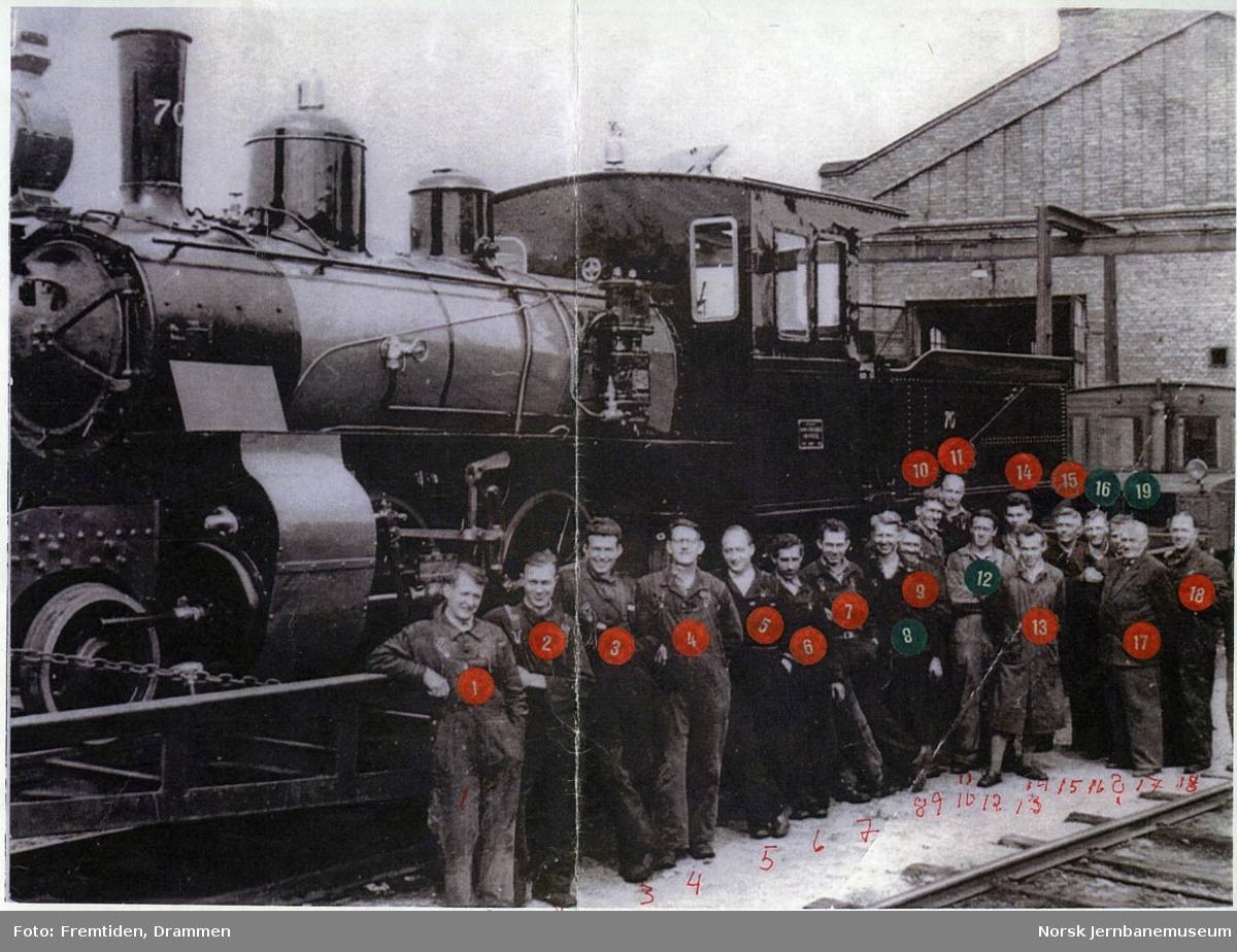 Nyoppusset damplokomotiv type XXIIIa nr. 70 opplastet på spesialvogn på verkstedet Sundland før forsendelse til Jernbanemuseet, med verkstedarbeiderne oppstilt foran