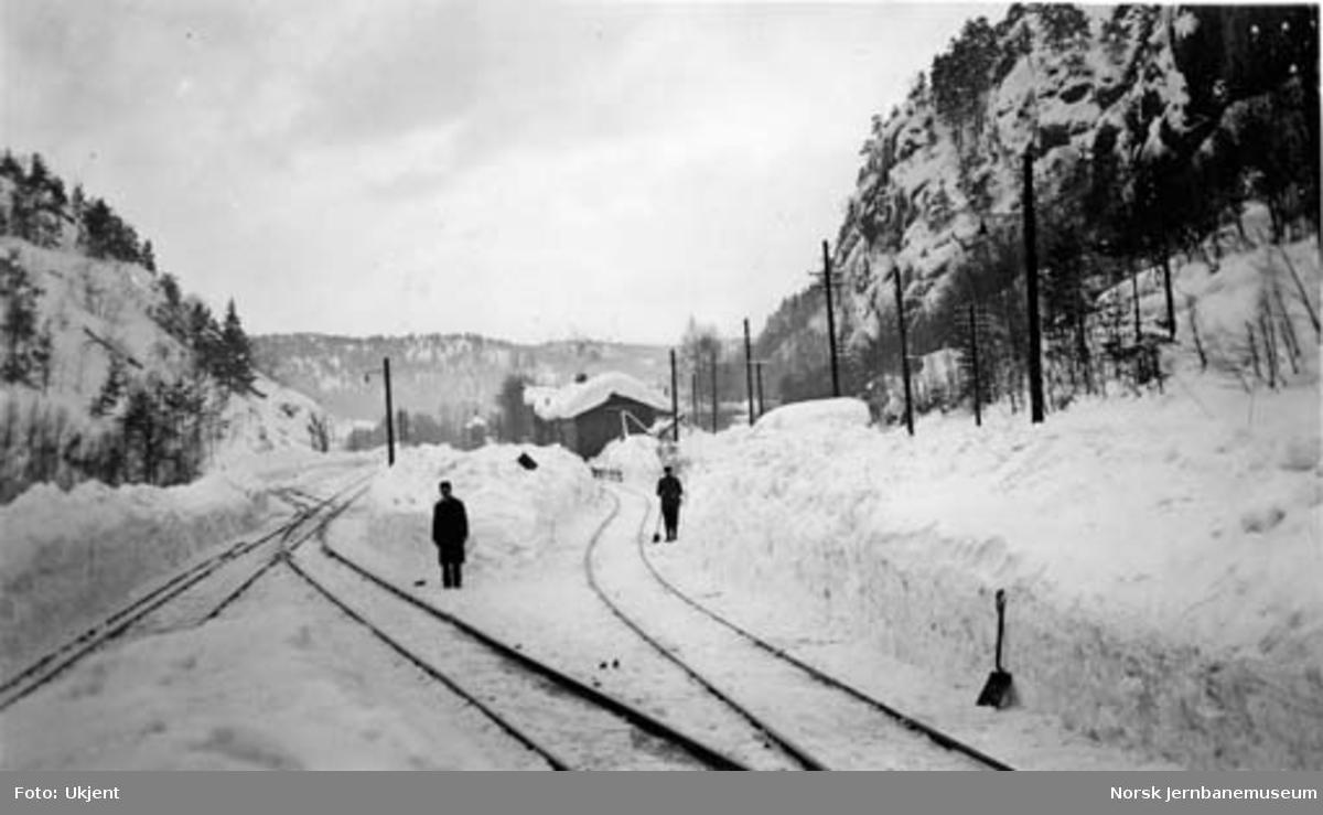 Store snømengder og snømåkere på Grovane stasjon