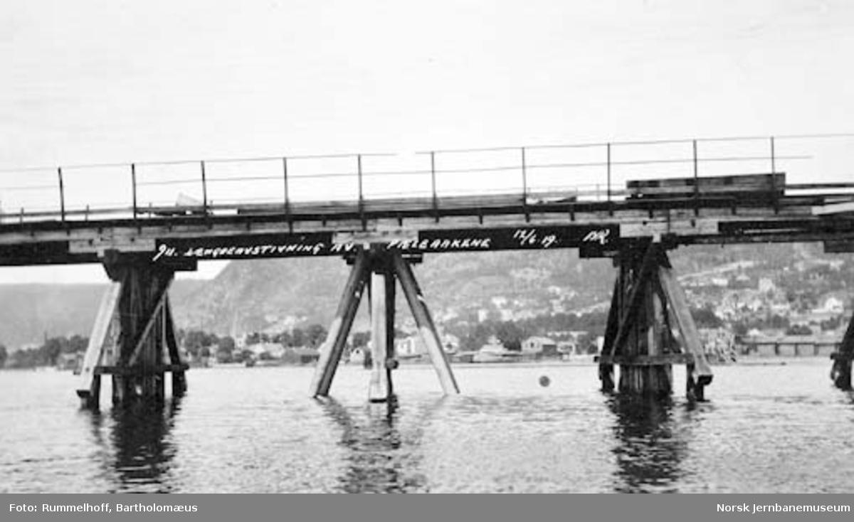 Drammensbruene : Strømsøløpet, lengdeavstivning av peleåk