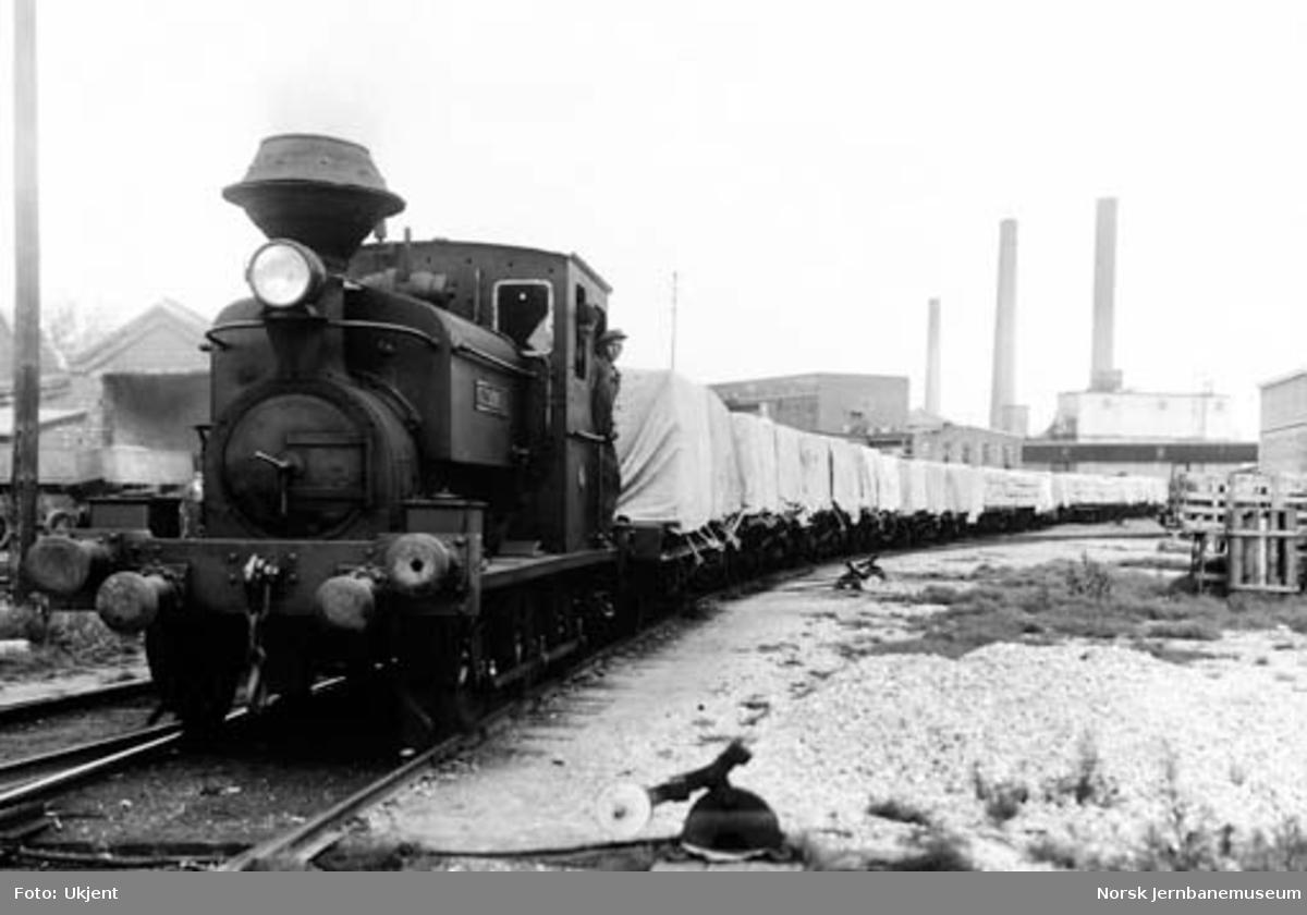 "Borregaards damplokomotiv ""Glommen"" med godsvogner"