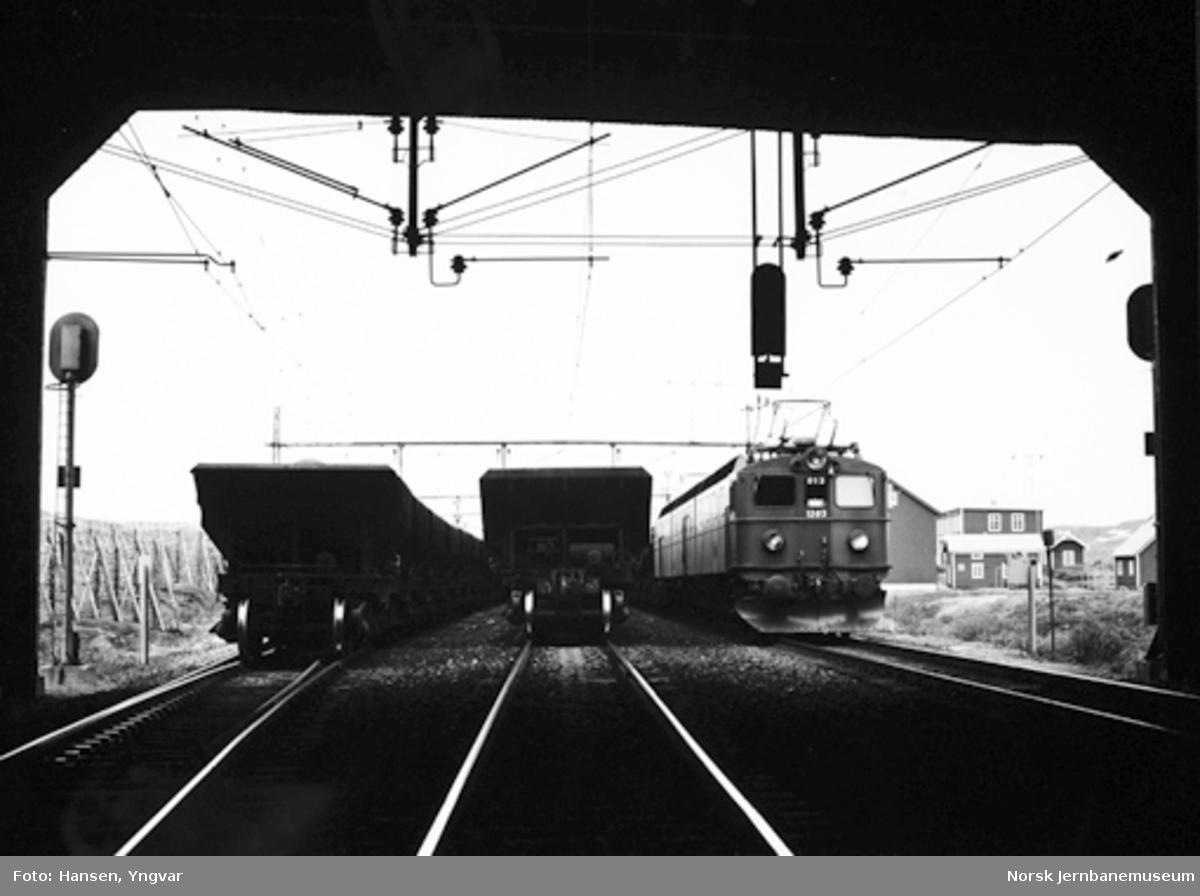 Bjørnfjell stasjon 18. juni 1980, om morgenen : kl. 07.46: malmtog 7313 passerer og krysser med togene 7310 og 7312
