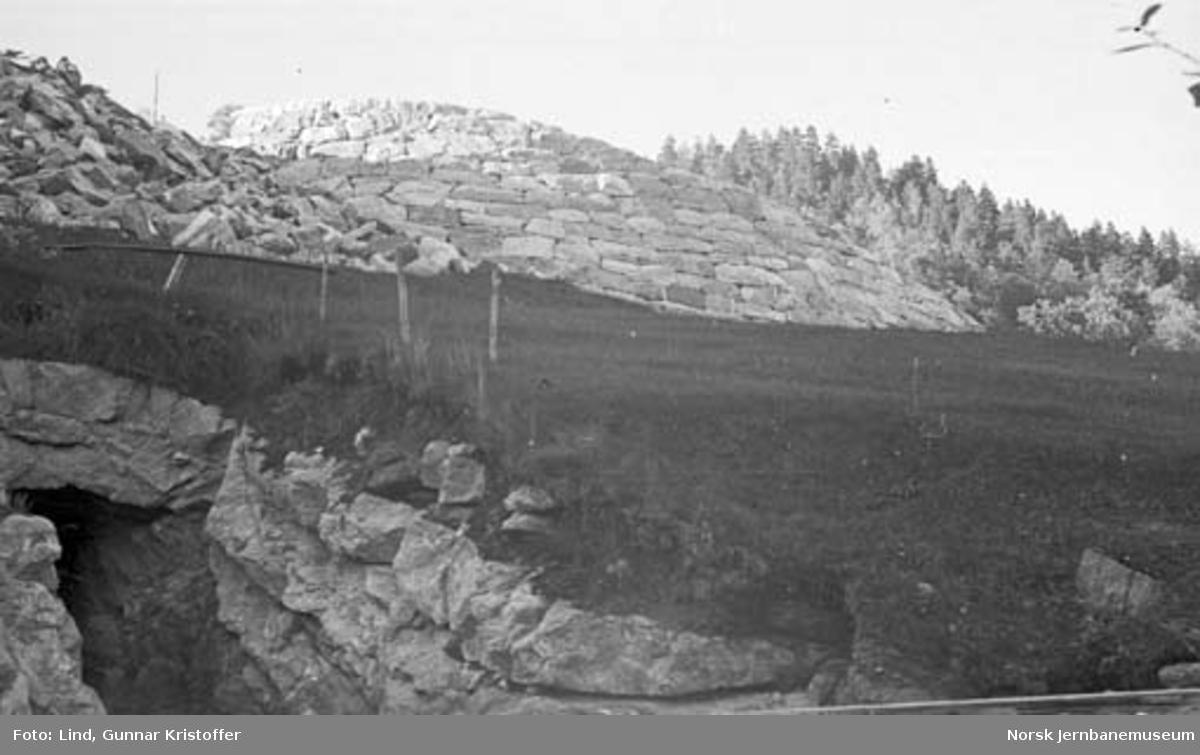 Nordlandsbaneanlegget : innslag til vanntunnel og mur til veg i Tømmerdal