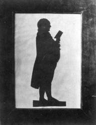 Silhuett. Portrett av postmester Boye Christie.