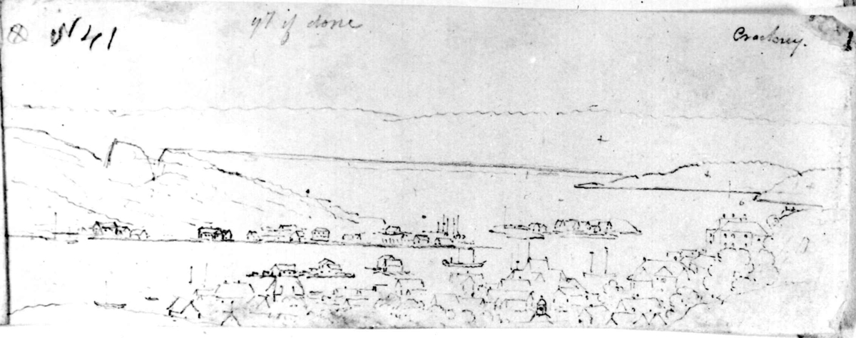 """KragerøFra skissealbum av John W. Edy, """"Drawings Norway 1800""""."""