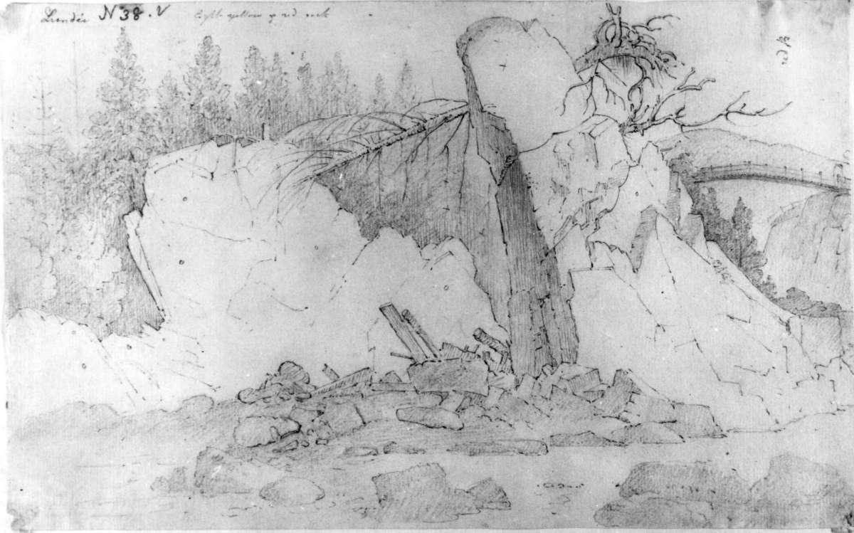 """Lunder?Fra skissealbum av John W. Edy, """"Drawings Norway 1800""""."""