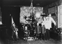 Familie feirer jul med juletre og gyngehest. Interiør, ant.