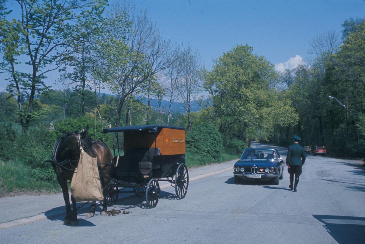 J. H. Andresen med familie kjører hest og vogn til Norsk Folkemuseum på Bygdøy.