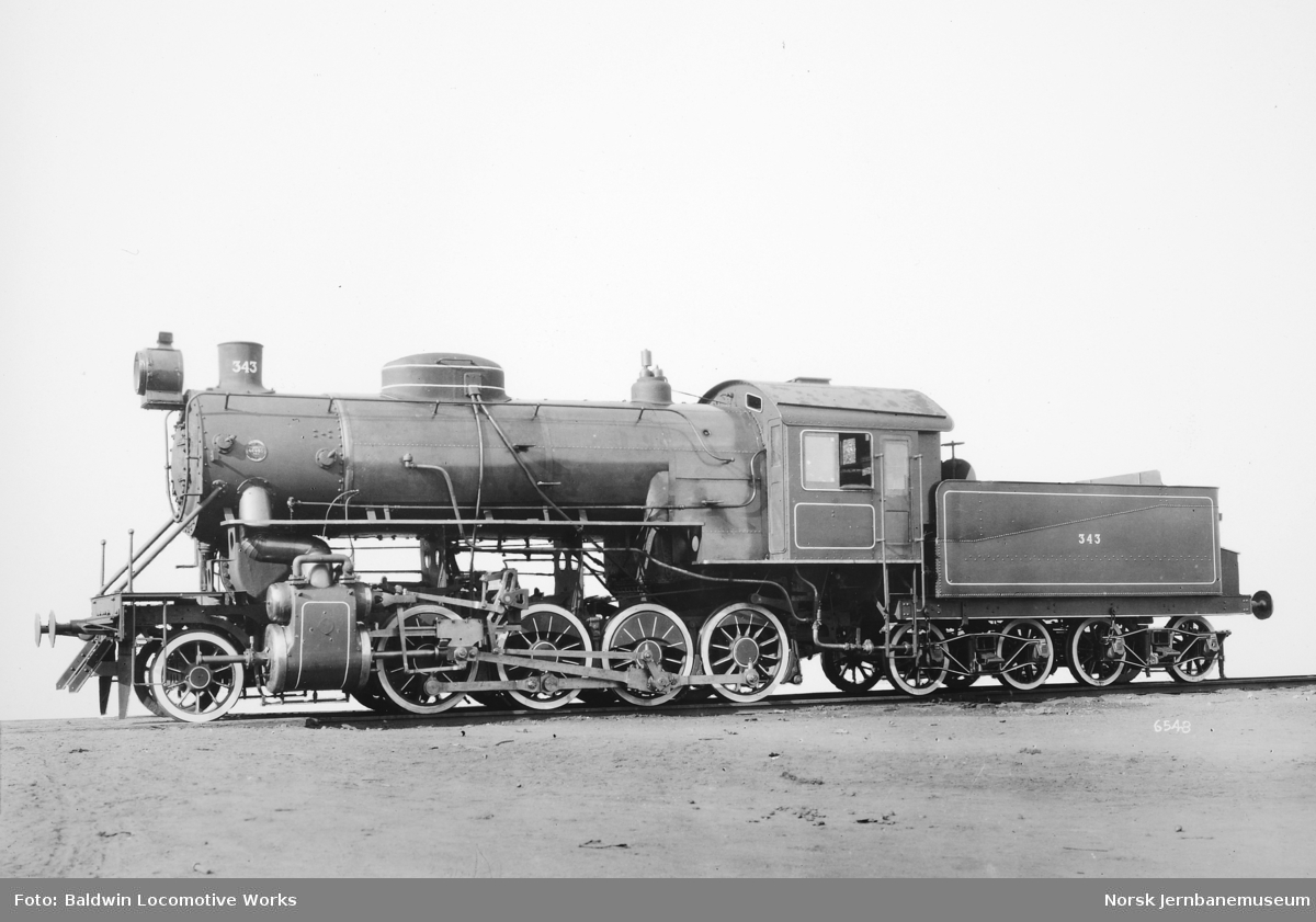 Leveransefoto av damplokomotiv type 33b nr. 343 fra Baldwin Locomotive Works
