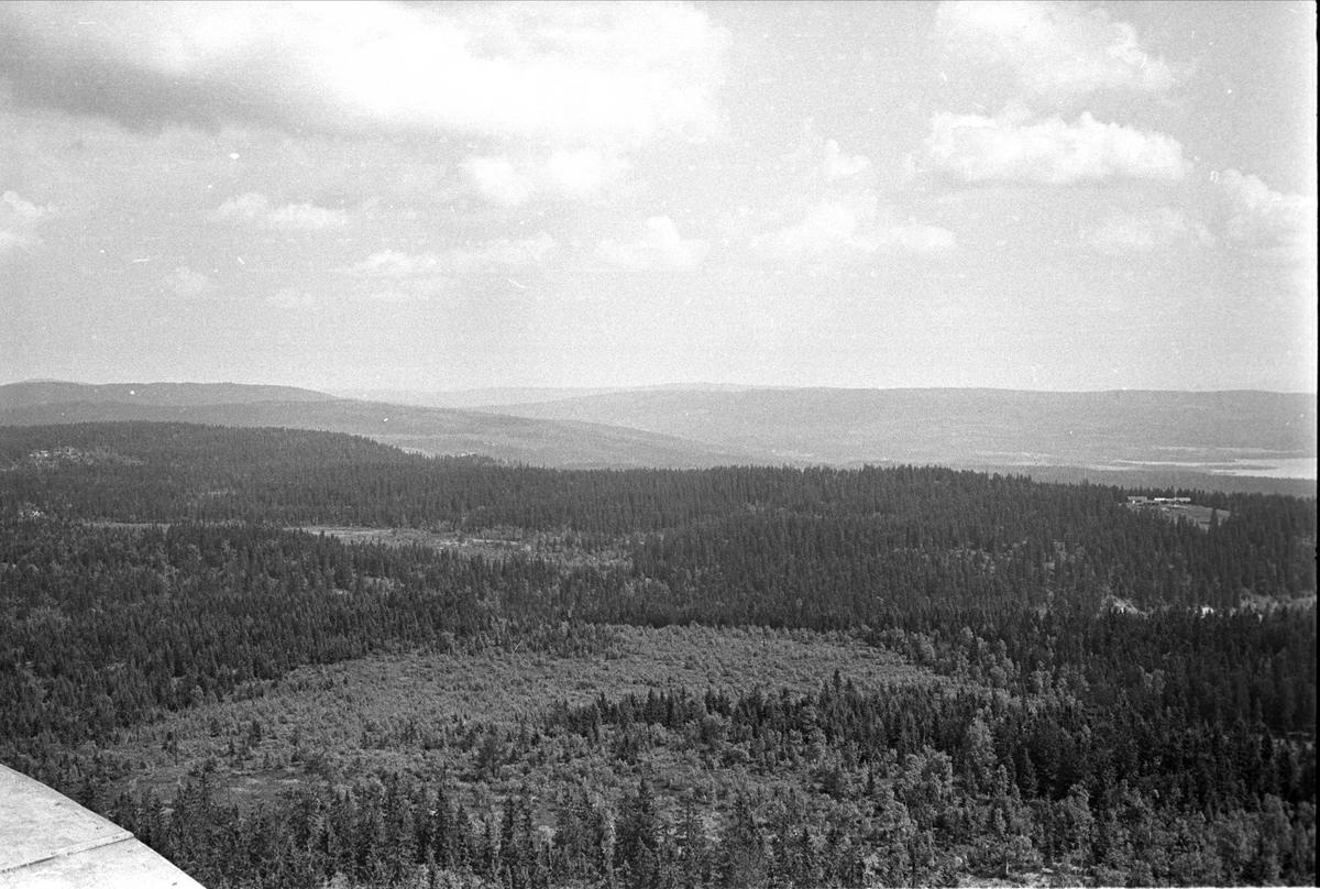 Fra Oslo, juni 1970. Utsikt fra brannvakten i Tryvannstårnet.