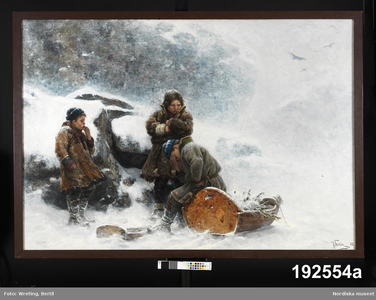 Tre samiska barn i snöstorm.