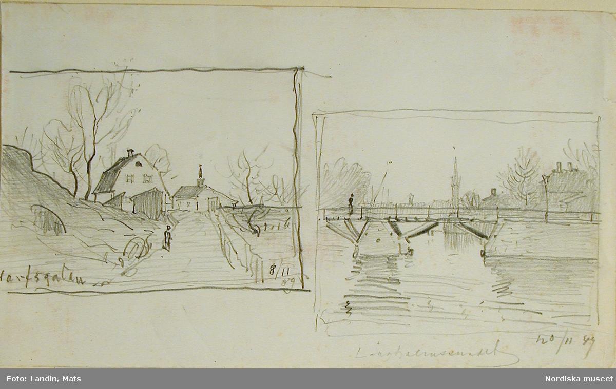Teckningar av A T Gellerstedt. Motiv från Varvsgatan och Långholmssundet i Stockholm.