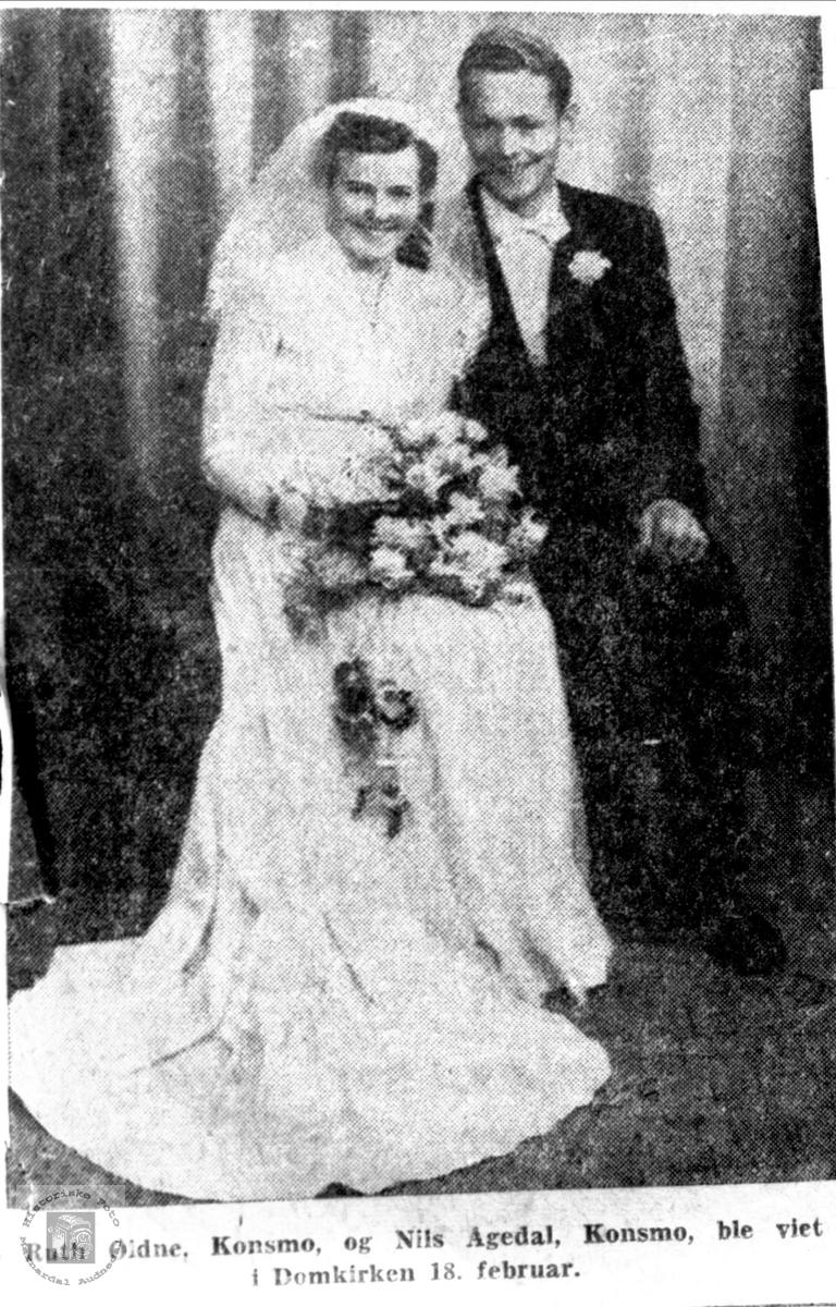 Brudebilde av Ruth og Nils Ågedal