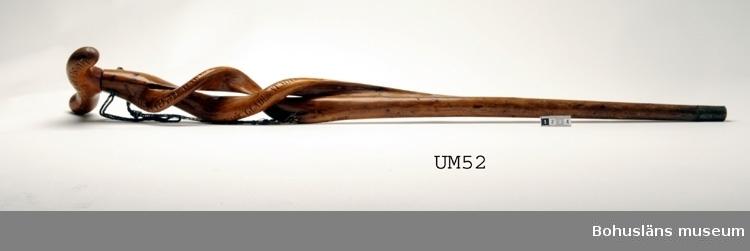 Käpp av trä troligtvis en, polerat eller med ett tunt lacklager. I käppens övre del är gjutna metallbrickor med hål fästade på var sin sida. Hål också gemon käppen och en silkesnodd är genomdragen och ihopknuten. Snodden består av indigofärgad och ofärgad silverlanomspunnen silketråd; ca 50 cm lång. Den svartnade silverlanen är delvis bortsliten. Skuren inskription på kryckan:  I UDDEVALLA GRÖNSKAR GRAFVEN DER, TRÖTT, NEDLADE BARDENSTAFVEN 18 XII/IX 60 Inskription på staven: DENNA STAFHAR OFTA STÖDT Skalden SOM FÖR Hilma BLÖDT HAN SOM QVAD: JAG NU MIG GLÄDER ÅT MYCKET LITET FYRA BRÄDER.  Ur handskrivna katalogen 1957-1958: Käpp som tillhört Wilhelm v. Braun. L. 91, 5 cm; av egendoml. växt trädstam; m. verifierad inskr.; Fernissad; doppsko av mässing. Hel.  Lappkatalog: 81