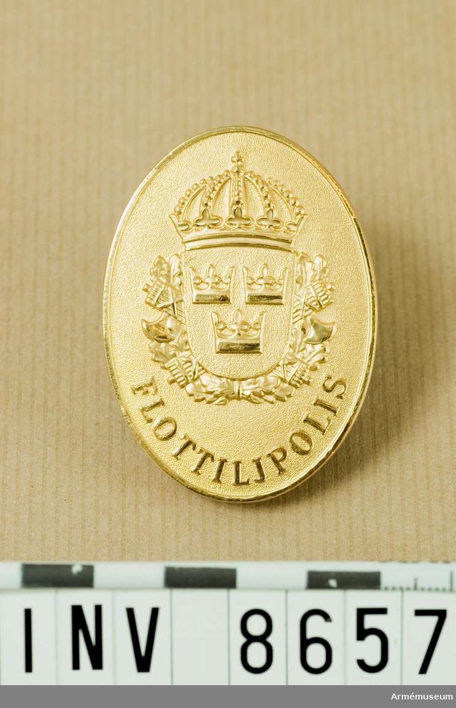 """I mattförgyllt guld, ett ovalt märke med lilla riksvapnet vilande på två korslagda spöknippen med bilor över ebladskistar. Nedtill står det FLOTTILJPOLIS. På frånsidan står det upptill """"FLYGVAPNET  Nr 789"""" och - vilket är oklart på förlagan - eventuellt M 7673-371000."""