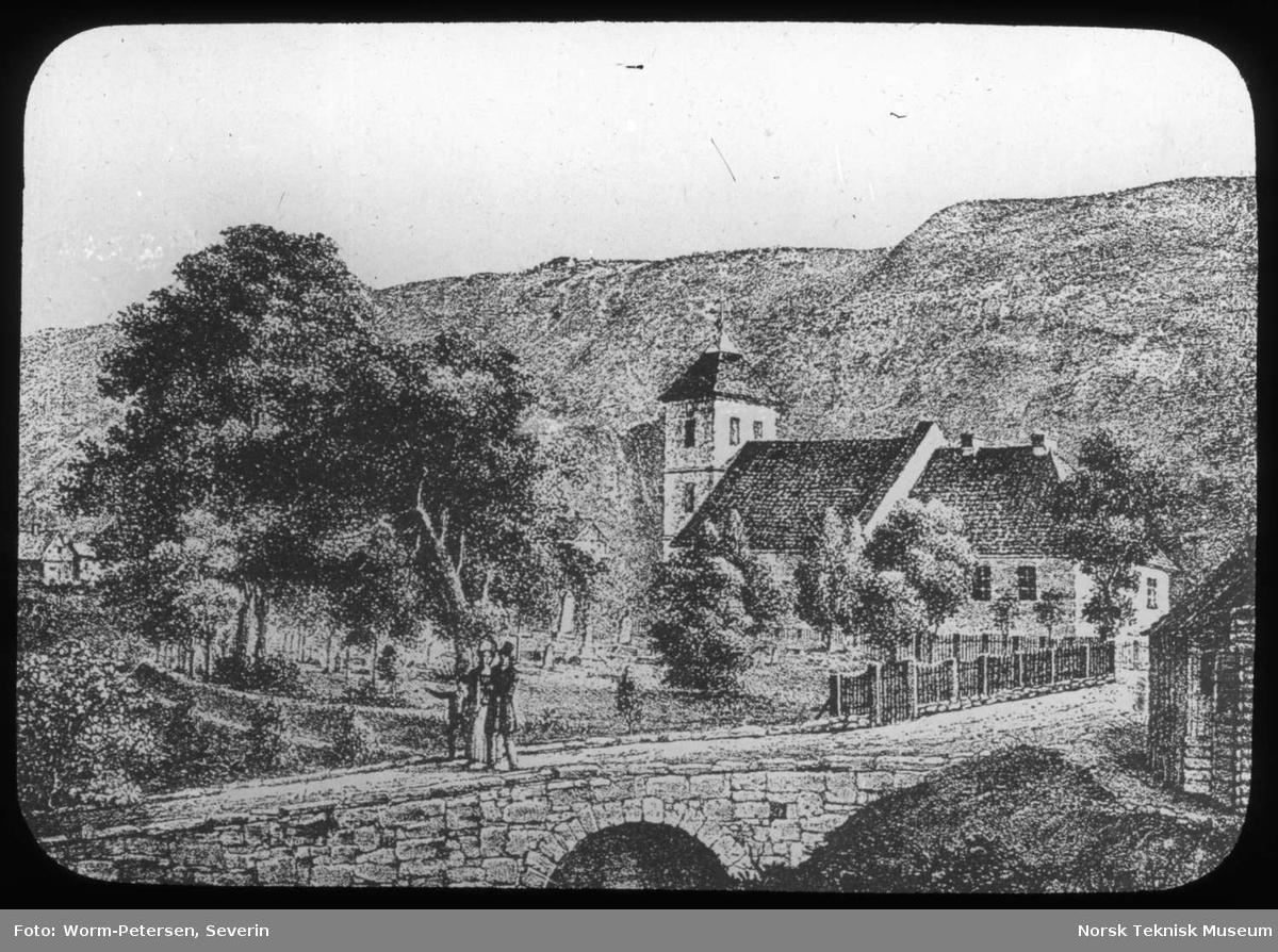 Avfotografert tegning, Bilder fra det gamle Oslo og Kristiania, Oslo kirke og hospital