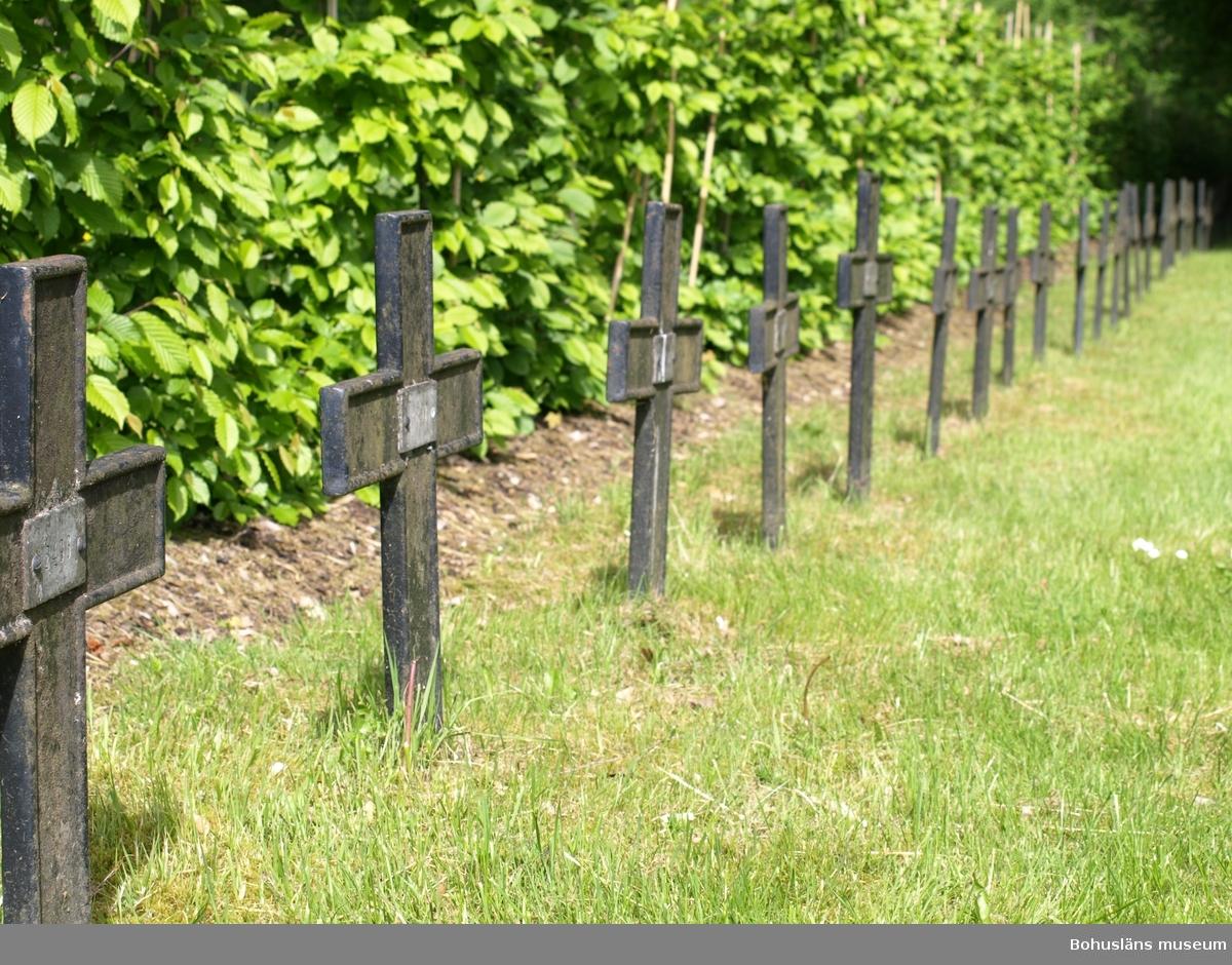 Vid sjukhusens begravningsplats markeras minnet av de tidigare patienterna med en lång rad järnkors. Foto: Bodil Andersson, Østfoldmuseene/Halden historiske Samlinger.