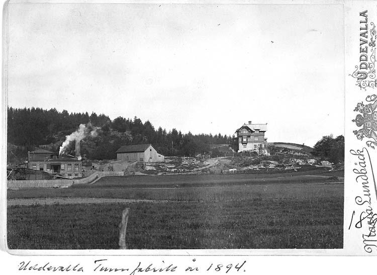 """Text på kortet: """"Uddevalla. Tunnfabrik år 1894""""."""
