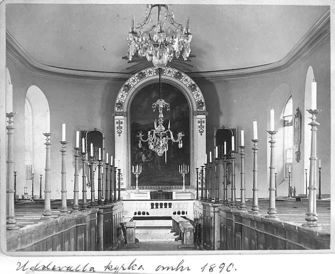 "Text på kortet: ""Uddevalla kyrka omkr. 1890""."