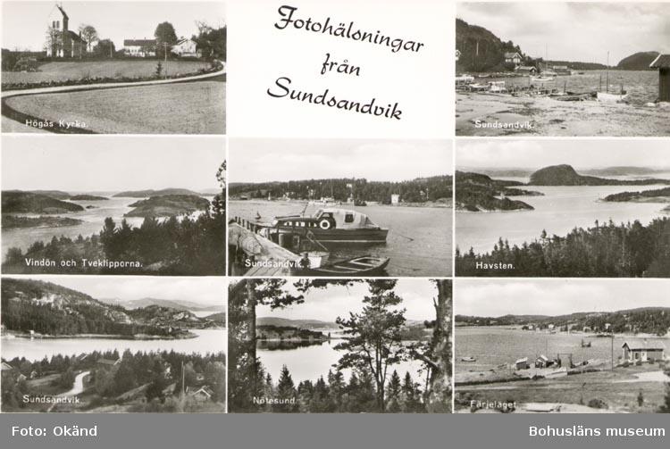 """Tryckt text på kortet: """"Fotohälsning från Sundsandvik"""". """"Högås Kyrka, Sundsandvik, Vindö och Tveklipporna, Sundsandvik, Havsten. Sundsandvik, Nötesund, Färjeläget"""". """"Förlag: Firma H. Lindenhag, Göteborg. 7592"""". Noterat på kortet: """"16/5 60""""."""
