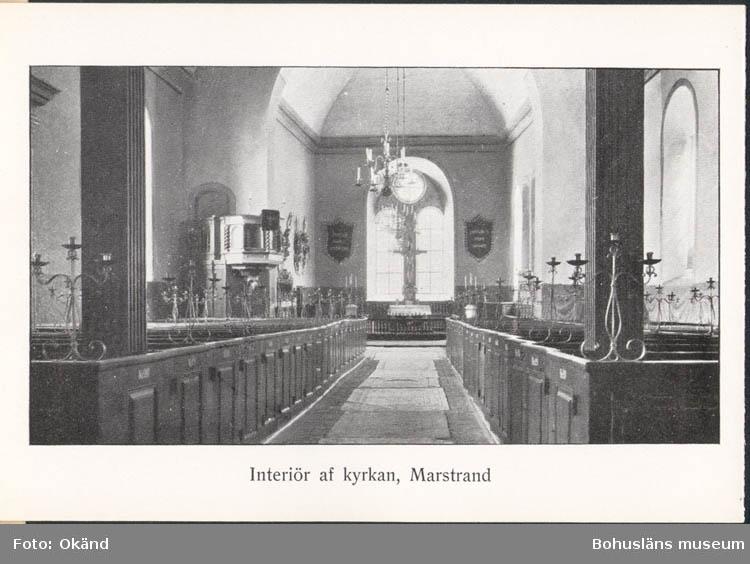 """Tryckt text på kortet: """"Interiör af kyrkan, Marstrand."""""""