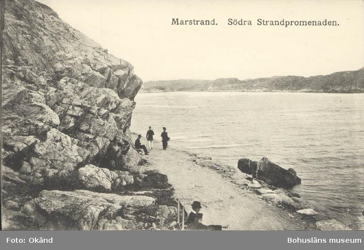 """Noterat på kortet: """"Marstrand. Södra Strandpromenaden."""" ::"""